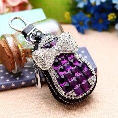 Bling ทำด้วยมือหนังรถกระเป๋าใส่กุญแจกรณี Luxury Bling คริสตัล Rhinestones (สีชมพู).
