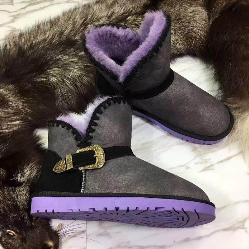 1974016697d28 BLIVTIAE uxury Winter Snow Boots Sheepskin Boots Natural Wool Sheep Fur  Boots Short Buckle Sweet Bow