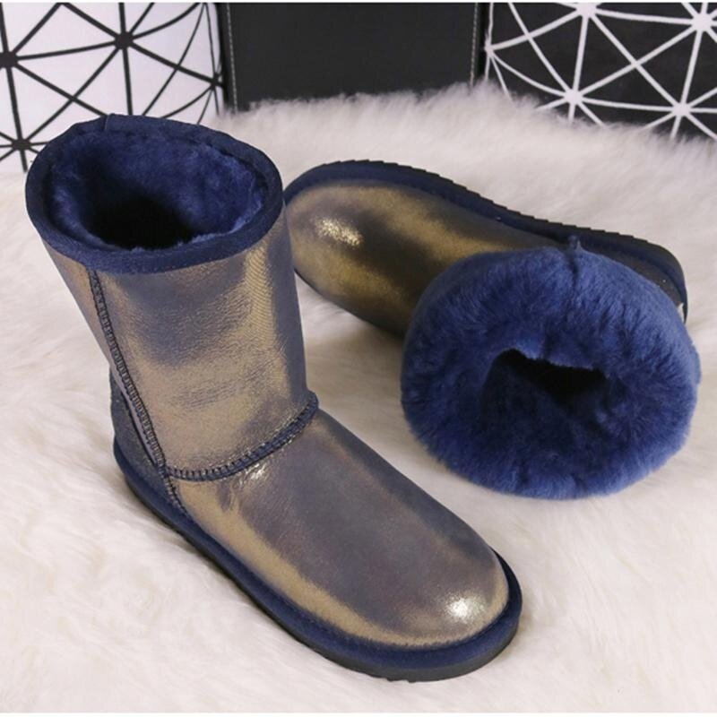 2512b6eb6f732 BLIVTIAEClassic Luxury Sheepskin Boots Women Winter Snow Boots Middle Calf  Boots Girl Warm Genuine Leather Natural