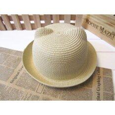 42650a2768a BMSO-232 Fashion Straw Hats Summer Baby Cat Ear Decoration Hat Lovely  Children Character Girls