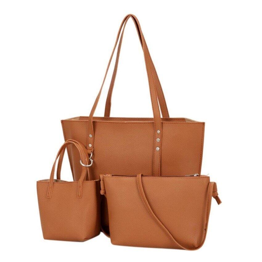 Boboca 3pcs Women Bag Fashion Messenger Bags Handbag PU Leather Female Bag(Brown) -