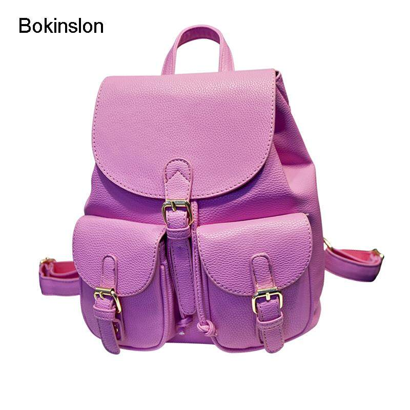 Bokinslon Brand Womens Backpacks Fashion PU Leather Girl Backpack School  Bags Casual All-Match College 88077ee0ca4e3