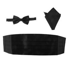 Bolehdeals 3pcs Mens Satin Bow Tie Cummerbund Hanky Handkerchief Black By Bolehdeals.