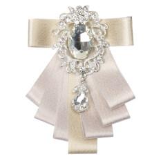 BolehDeals Men's Bridegroom Bow tie Wedding Party Dance Ribbon Diamand Neckwear Beige
