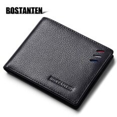 Bostanten Men's Genuine Cowhide Leather Wallet 2017 The Newest Bifold Purse Fashion Card Holder Wallet Black
