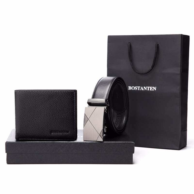 Bostanten Men's Genuine CowLeather Belt And Genuine Cowhide Leather Wallet Gift Box Black