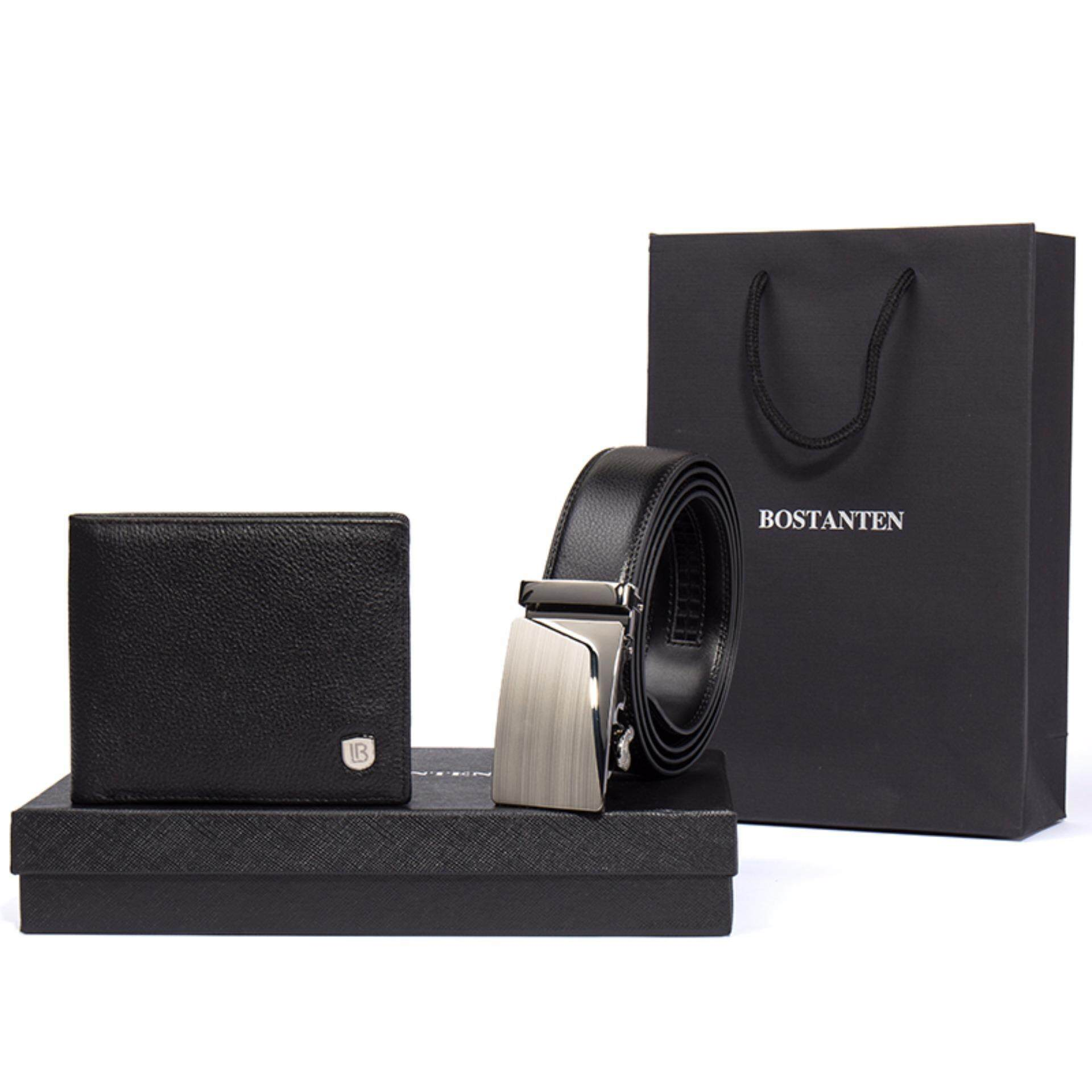 Bostanten Men's Genuine Leather Belts And Genuine Cowhide Leather Bifold Wallet Gift Box Black