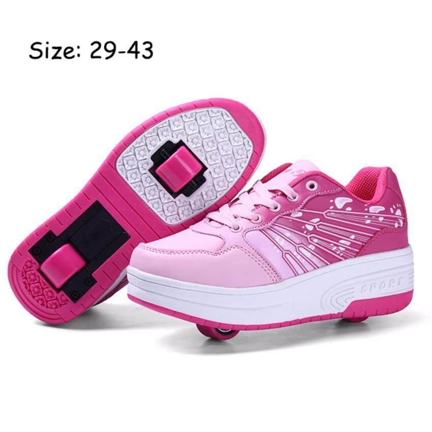 Anak Laki-laki Anak Perempuan Sneaker Fashion Dua Kali Lebih Tahan Lama Roda LED Menyala Roller Skate Heelys Tak Terlihat Roda Sepatu Skate Sportsshoes Sneakers Biru