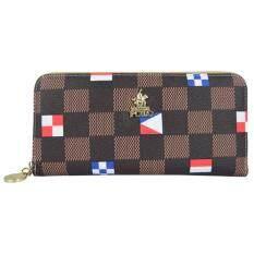 British Polo Square Pattern Purse Brown