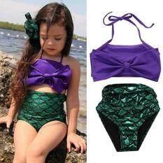 Giá bán Broadfashion Kids Girls Mermaid Swimmable Bikini Set Swimwear Swimsuit Swimming Costumes 4t (Purple)
