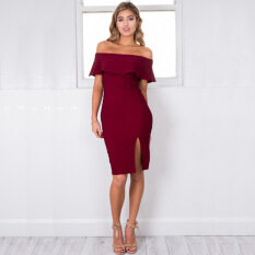 635f0d426c0 Buenos Ninos Women s Summer Off the Shoulder Sexy Split Pencil Midi Dress  Red