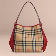 Malaysia Burberry Small Canter In Horseferry Check And Leather Parade Red