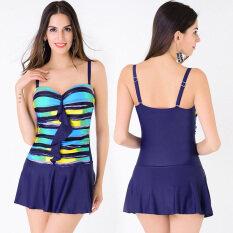 bd2fb2ee774cc BuyBuy Shop One Piece Push Up Stripes Printed Surf Wear Plus Size Swim  Dress Swimsuit Sexy