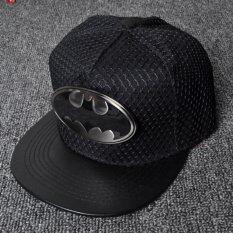 New Style embroidery iron bat Batman hip hop hat men and women composite  hanging net flat along the baseball cap(Black)