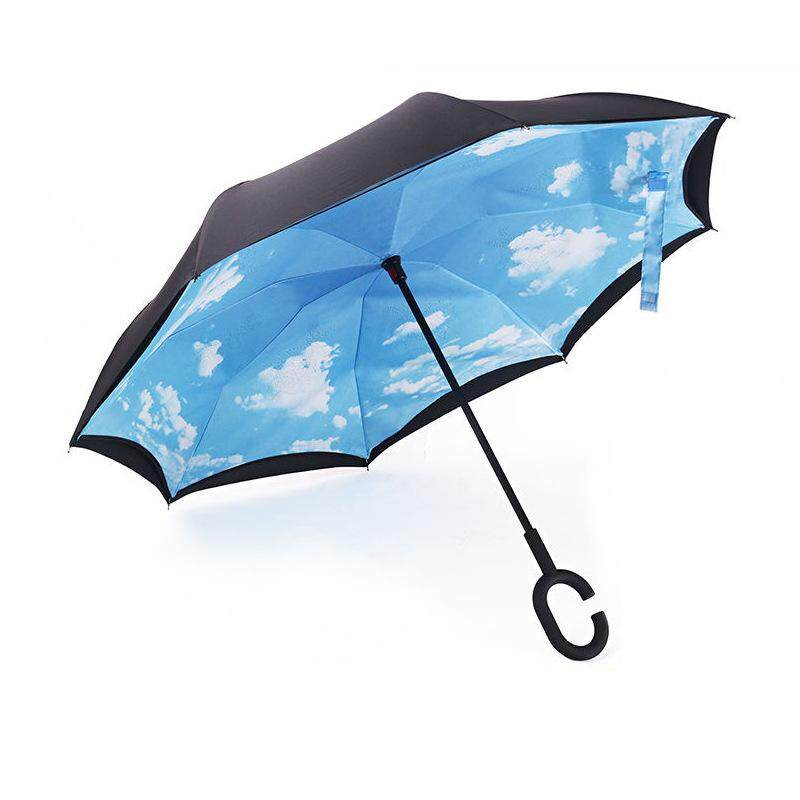 Compare Prices For C Handle Double Layer Umbrella Windproof Folding Inverted Upside Down Umbrella Intl