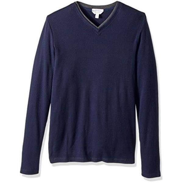 Calvin Klein Pria Panjang Lengan Ribbed Leher-v Kaus, Cadet Angkatan Laut,-Internasional