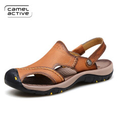 Camel active outdoor leather summer Men shoes Baotou Sandals (Light brown  1) (Light