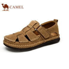 Camel Men's Daily Casual Sandals Close Toe Fashion Cow Leather Shoes(Brown)