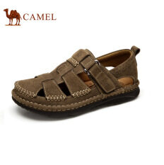Camel Men's Daily Casual Sandals Close Toe Fashion Cow Leather Shoes(Coffee)