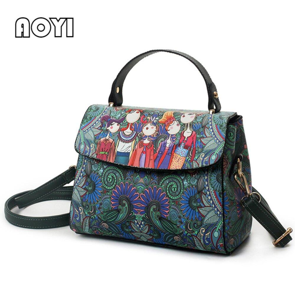2ca5025eaefd Cartoon Square Printing Dark Green Forest Women Leather Messenger Shoulder  Bag Retro Tote Bag Woman Handbags