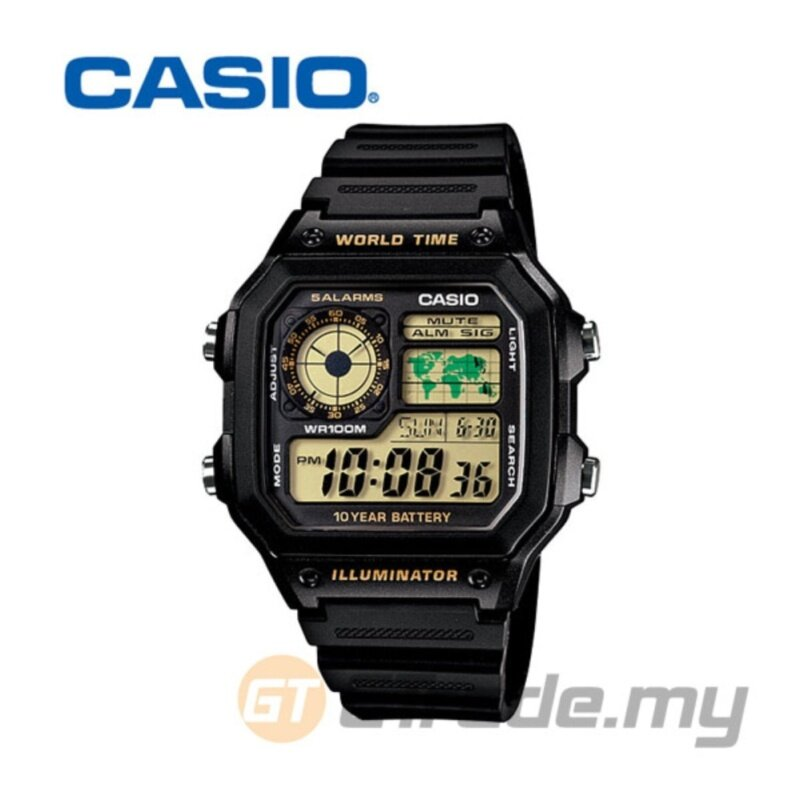 Casio Mens Black Resin Strap Watch AE-1200WH-1BV Malaysia