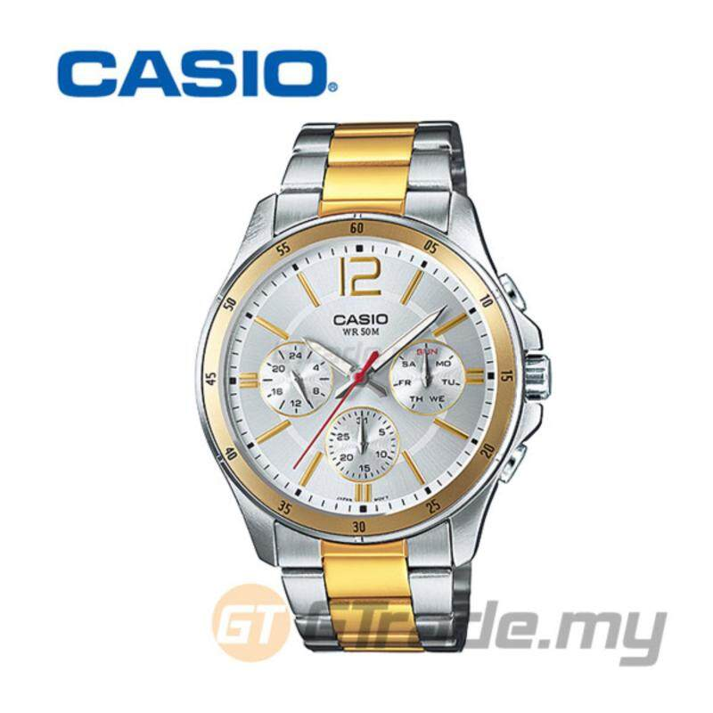 CASIO STANDARD MTP-1374SG-7AV Analog Mens Watch Classic Silver Gold Malaysia