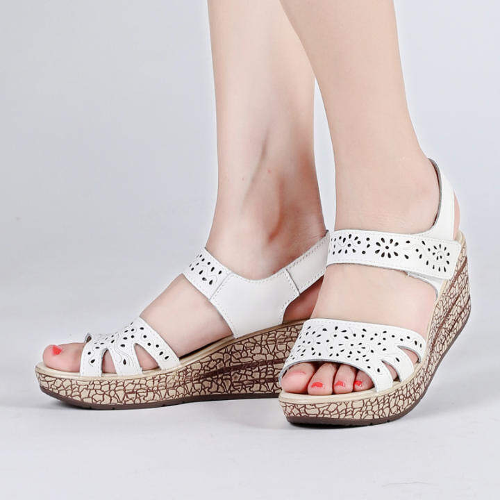 Gentleman/Lady - Casual Female Thick Bottomed Muffin Open-Toed Shoes Shoes Shoes Leather Sandals (White)  - Attractive And Durable 28c535