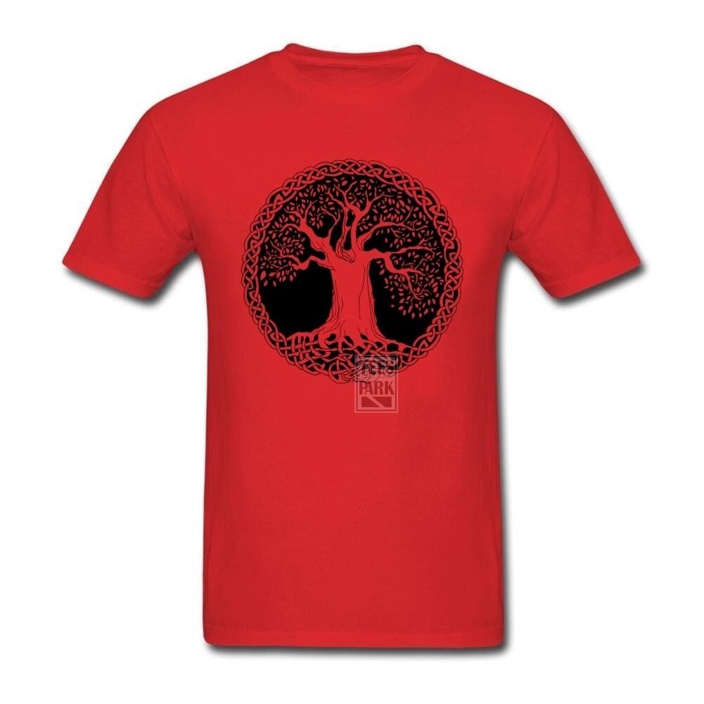 Kaus Kasual Motif Pohon Kebijaksanaan Pohon Pola Pemuda Alami Baju Lengan Pendek Katun Tee Baju Batik Pria T Shart untuk Pria-Intl