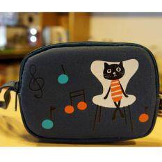 Cat Canvas Double Zipper Mobile Phone Wallet(dark Blue) By Qionghua001.