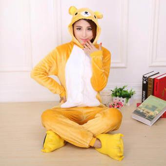 CatWalk Rilakkumaชุดนอนสำหรับผู้ใหญ่ชุดคอสเพลย์ผู้หญิงO NesieชุดนอนS-XL (สีเหลือง)-สนามบินนานาชาติ