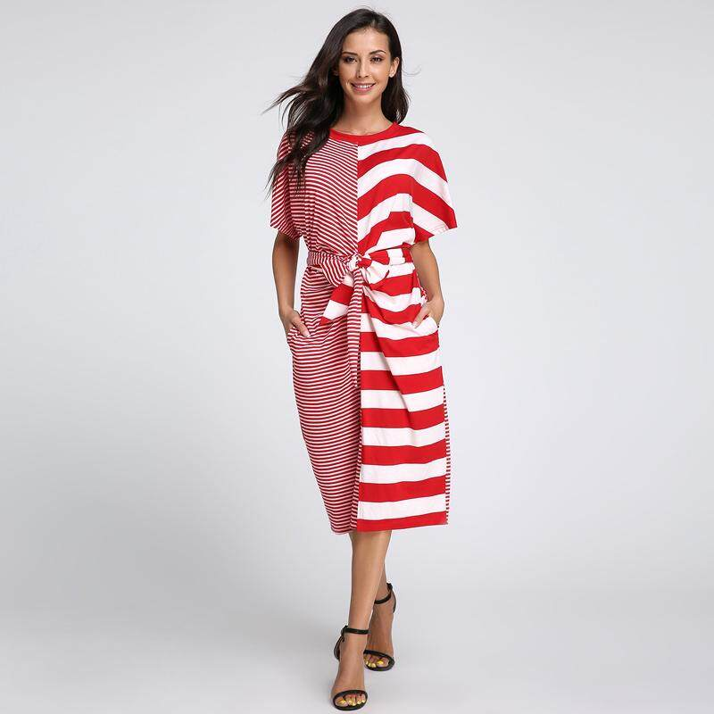 Price Celmia Oversized Vestidos Celmia Summer Dresses Women Striped Belted Split Shirt Dress Pockets Fitness Slim Robe Femme Plus Size S 5Xl Red Intl Online China