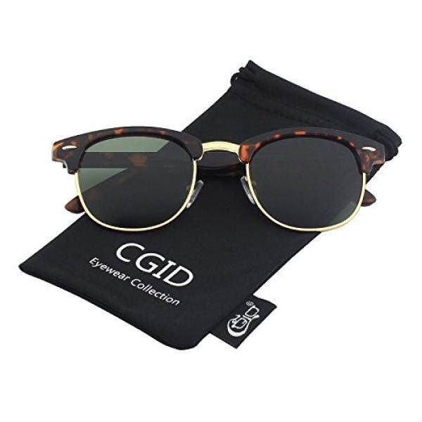 4962533263e CGID Clubmaster Premium Classic Inspired Half Frame Horn Semi-Rimless  Rimmed Sunglasses with Metal Rivets