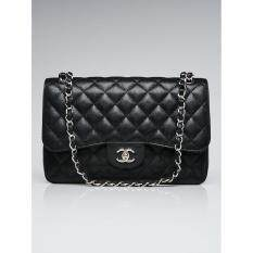 Malaysia Chanel Black Quilted Caviar Leather Classic Jumbo Double Flap Bag