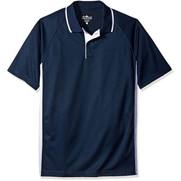 Charles River Apparel Mens Color Blocked Wicking Polo, Navy/White, 5 - intl
