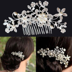 Charm Bridal Headpiece Hair Jewelry Headwear Wedding Crystal Pearl  Rhinestone Flower Hair Comb Women Girls Hair 0f6141d60e