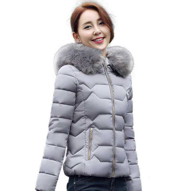 8082428f4f72 CHEER Women Winter Down Jacket Cotton Short Jacket Slim Fur Collar Coat for  Gift Grey M