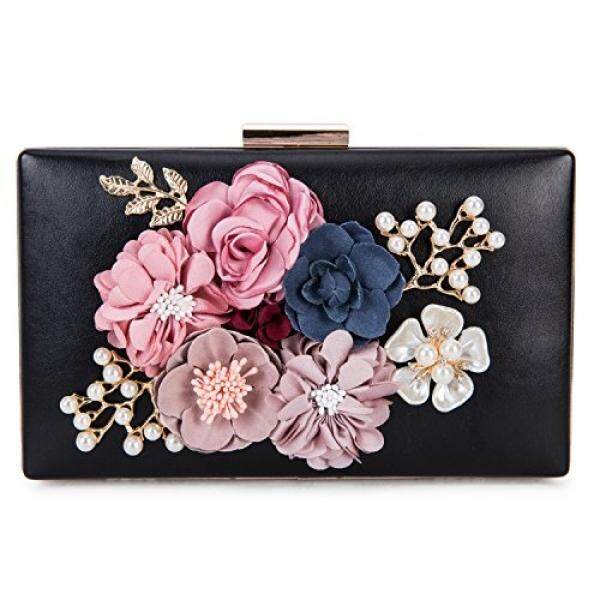 a68e7703928 Chichitop Womens Flower Evening Clutch Purse Bag Pearl Beaded Prom Wedding  Evening Handbags, Black -