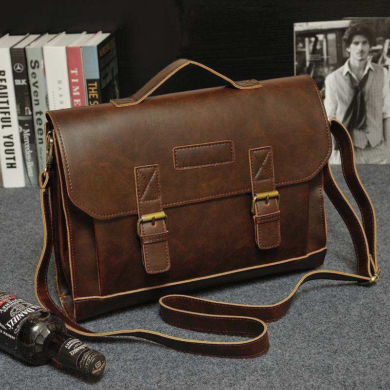 Classic Business Tote Single Shoulder Large Capacity Bag For Men Coffee