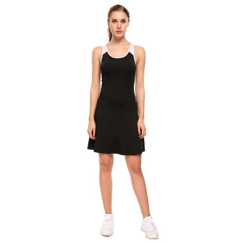 Clearance Price Astar Women Sport Sleeveless Mesh O Neck A-Line Dress Black  Tennis Patchwork 30b895770