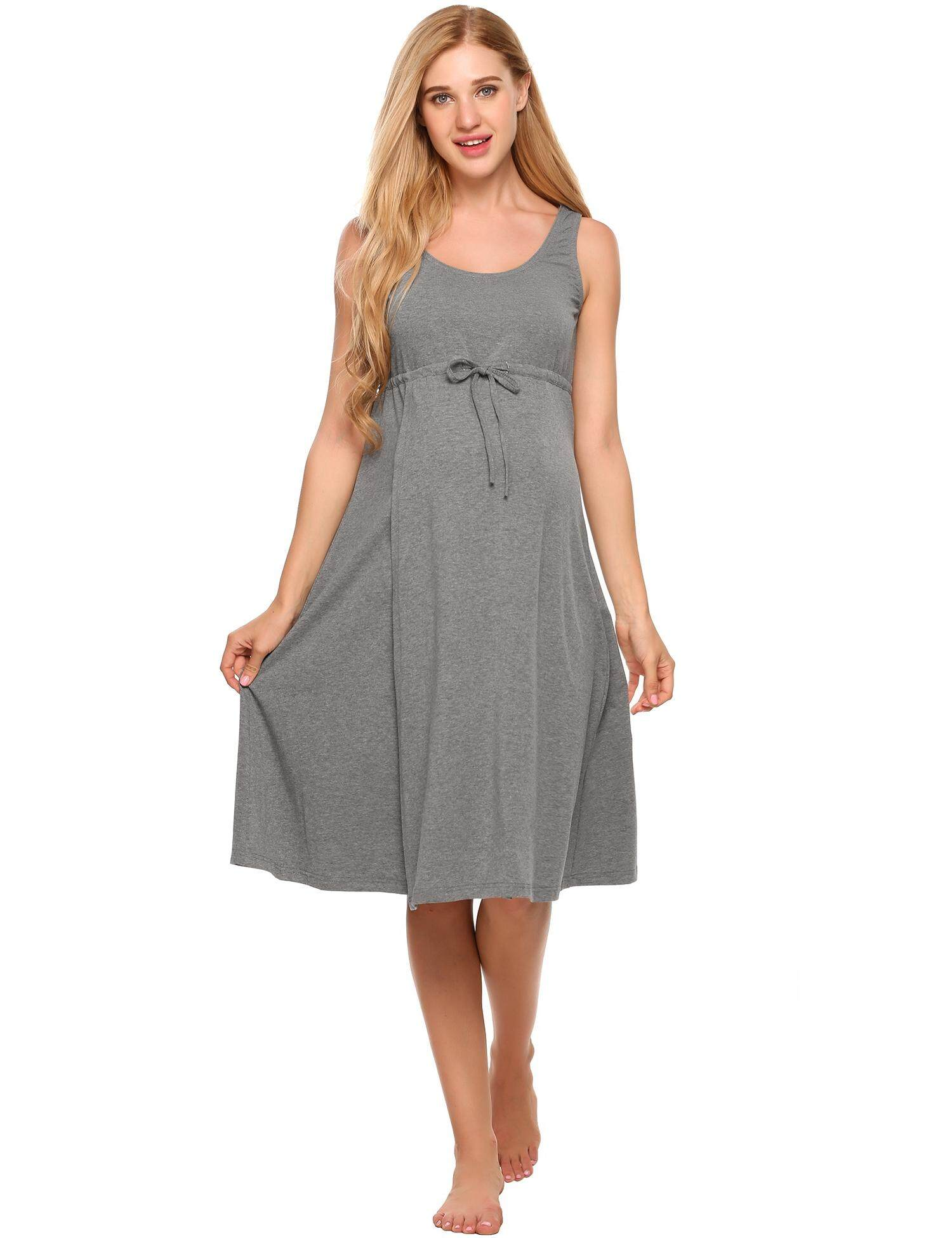 Clearance Sale Women O-Neck Sleeveless Solid Front Tie Nursing   Maternity  Dress (Grey 7840f94a6