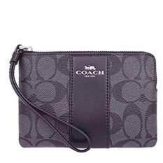 04797c86f Coach 58035-svdk6 corner zip wristlet in signature coated canvas with  leather stripe