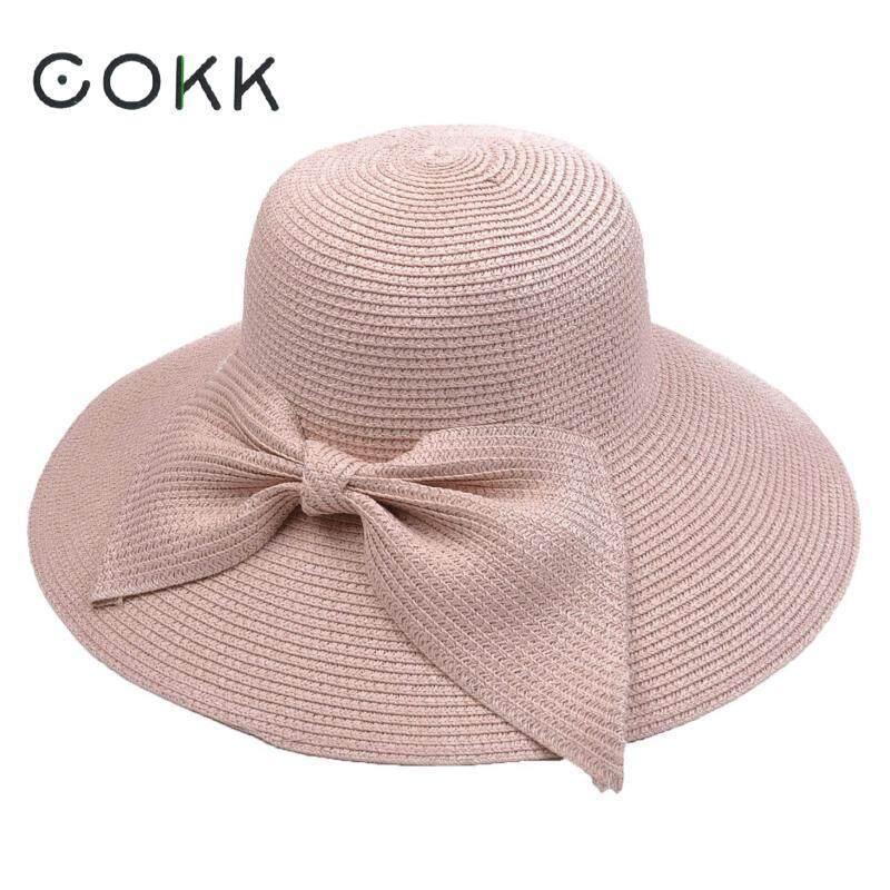 Cokk Merek Musim Panas Topi untuk Wanita Lipat Besar Busur Lebar Besar  Brimbeach Topi Pantai Topi ffce758f6e