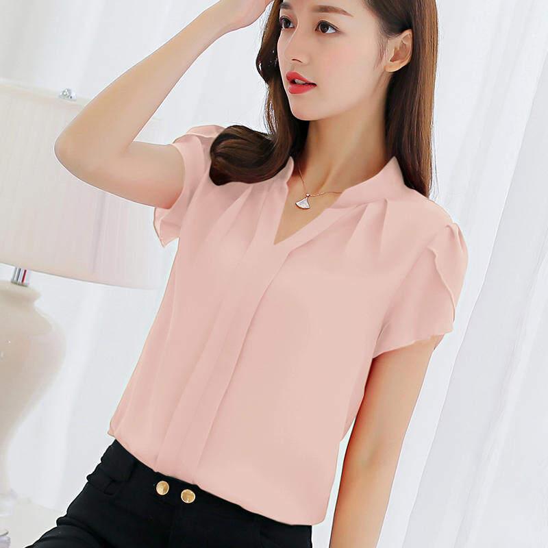 2a94aa78447e CALAN DIANA Women s Korean-style White Shirt Pink Sleeve Pink Chiffon Short
