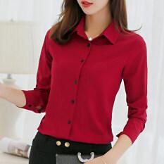 CALAN DIANA Women's Slim Fit Long Sleeve Chiffon Shirt (Red wine) (Red wine