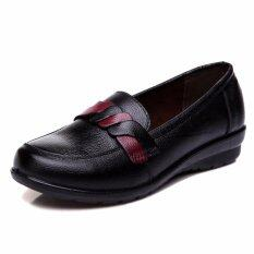 5517846702f Comfortable Genuine Leather Women Shoes Loafers Soft Bottom Non-slip Flat  Shoes Woman (Black