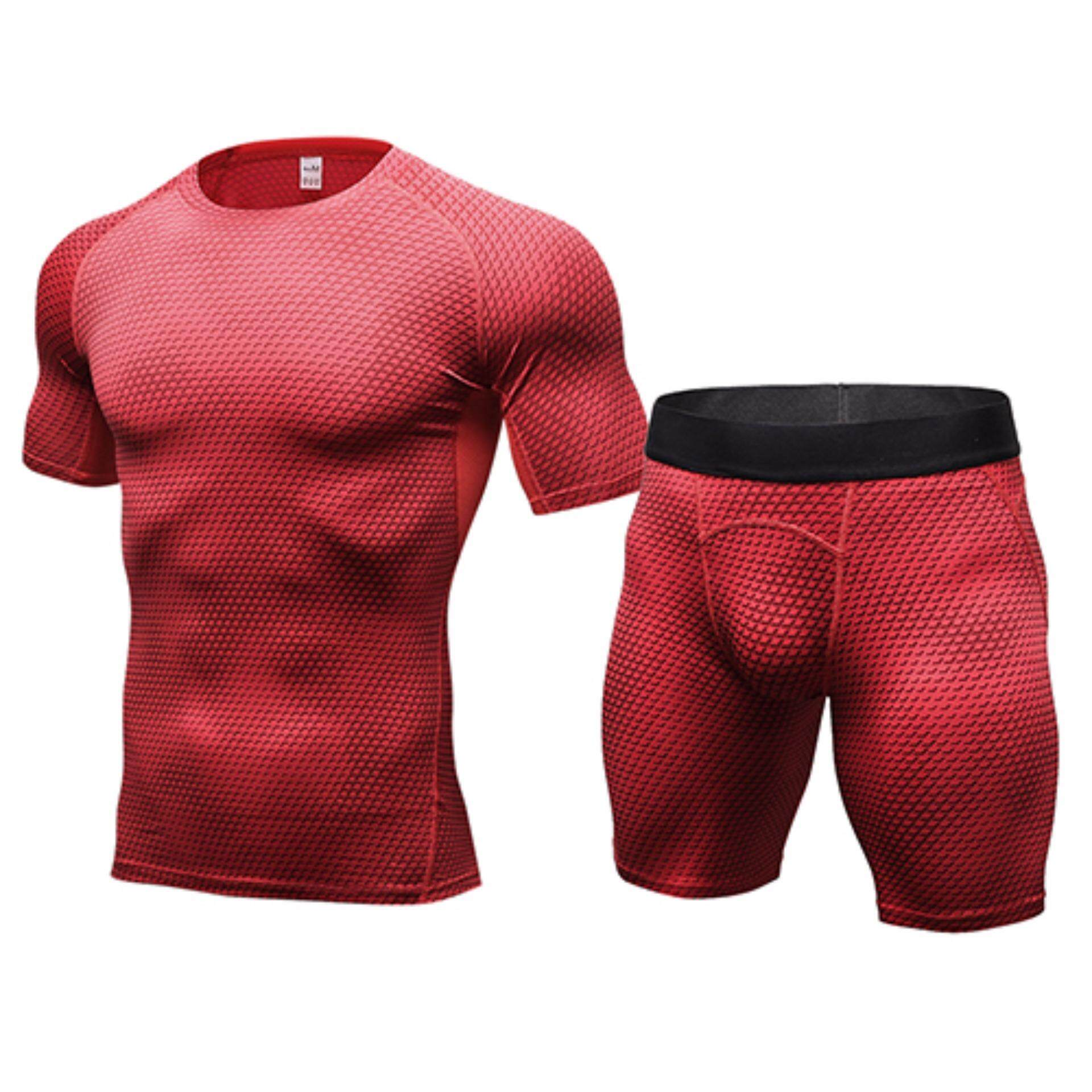 Rp 248.000. Compression Muscle Tracksuit Demix Running Set Fitness Tight T- shirt Legging Shorts Sport Suit Gym Men's Sportswear - intlIDR248000