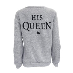 d682f4a09c Couples Cotton T Shirts Sportswear Clothes Long Sleeve Letters Print His  Queen Grey color Sweaters Tops