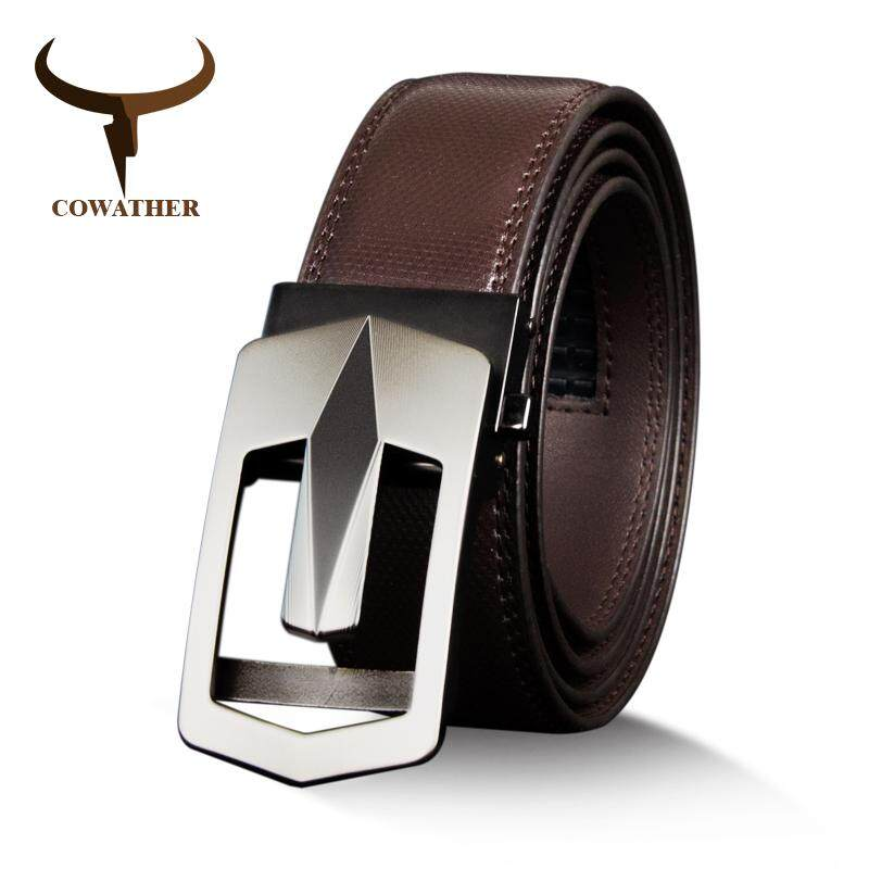 Sales Price Cowather Men 100 Top Cow Leather Dress Belt With Alloy Automatic Buckle Belts For Men Designer Male Strap Waist 29 44 110 130Cm Intl