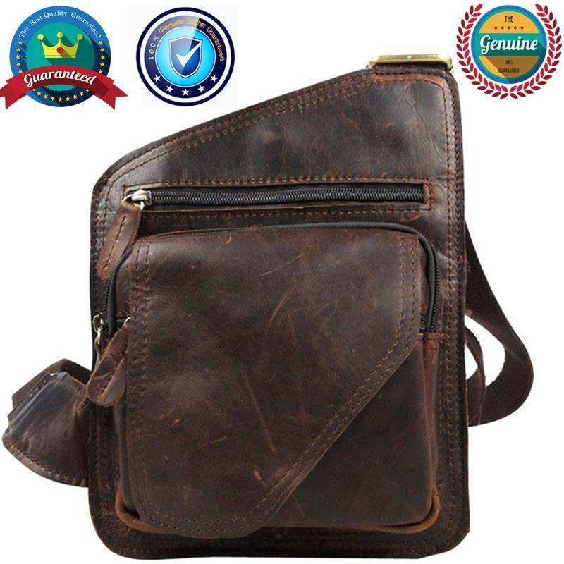 Newgoal Cowather Top Cow Genuine Leather Versatile Casual Men Shoulder Messenger Bags For Men Solid Zipper Crossbody Bags Coffee By Town For Like.