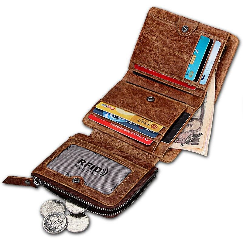 Great-King Italian 100% Crazy Horse Leather Wallets Short Anti Rfid Anti Theft Men's